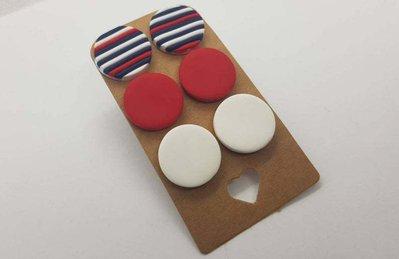 3 paia orecchini borchiette bottoncini bottoni blu rosso bianco colorati fimo rotondo pasta polimerica