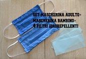 set 2 mascherine cotone lavabile, mascherina con filtro, mascherina bambino e adulto