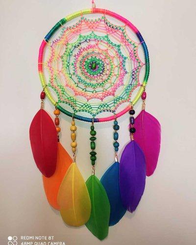 Acchiappasogni Intreccio mandala arcobaleno
