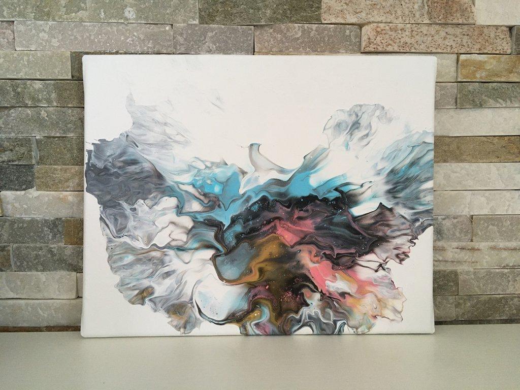 Quadro da appendere realizzato con la tecnica fluid painting