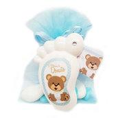 Bomboniera calamita personalizzata piedino orsetto battesimo nascita compleanno personalizzato completa di tutto