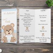 Menù orsetto battesimo nascita compleanno personalizzata