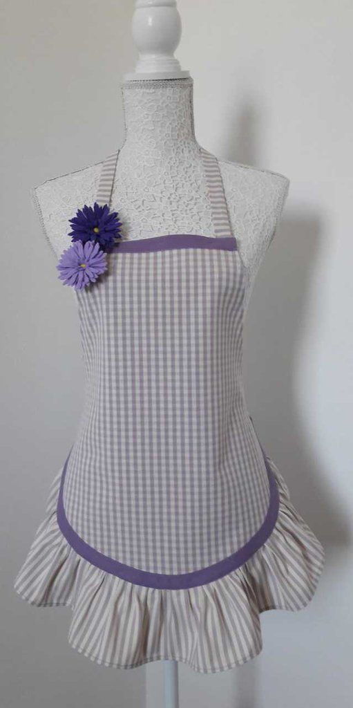Grembiule da cucina donna lilla e viola stile provenzale con balza