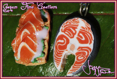 Orecchini al Salmone - Fimo