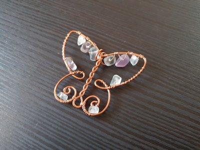 Ciondolo wire farfalla con fluorite