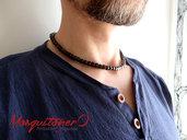 Collana uomo girocollo perline in Legno a cubi marrone,stile minimal,zen collana semplice