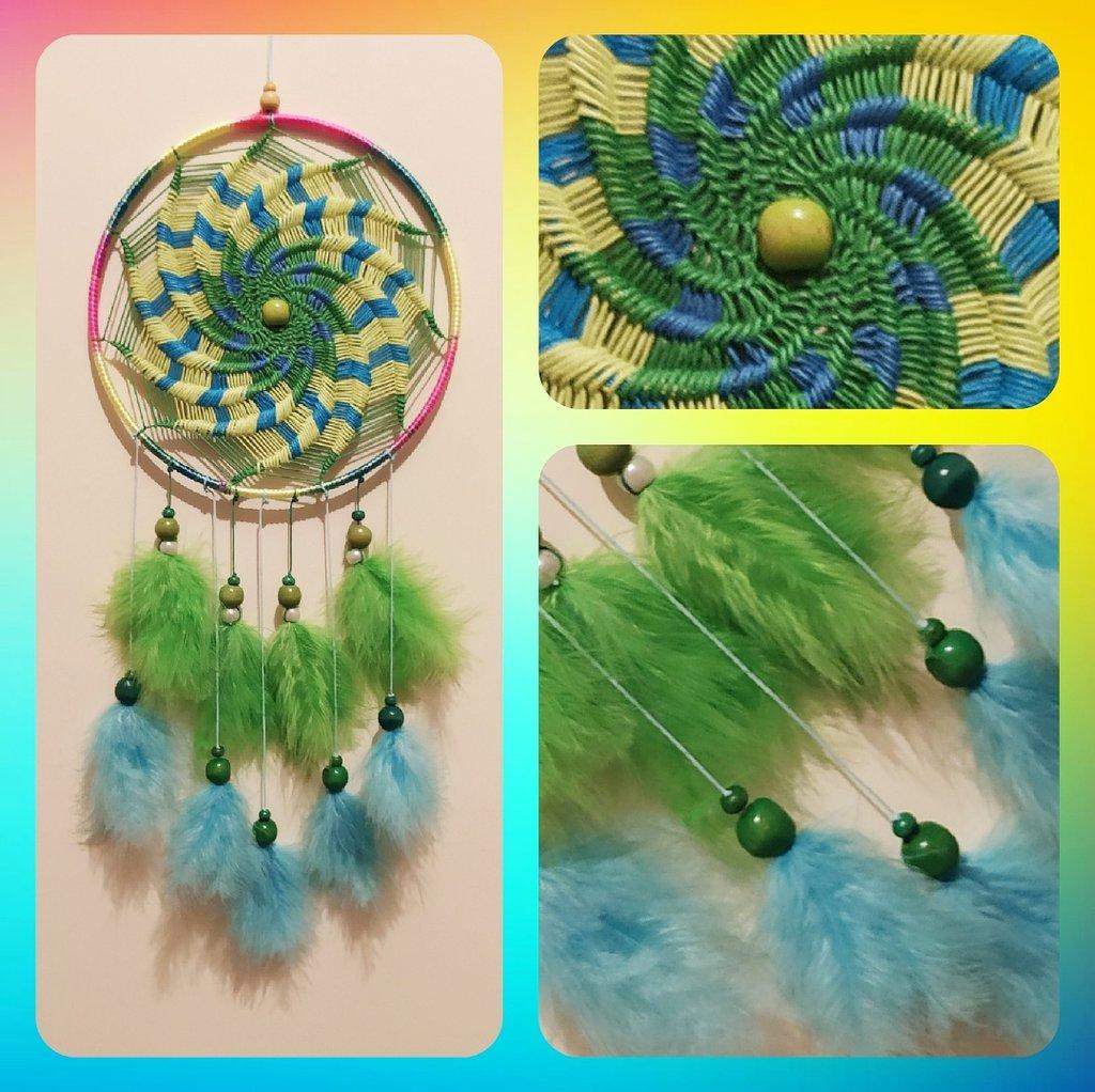 Acchiappasogni intreccio a spirale verde e blu
