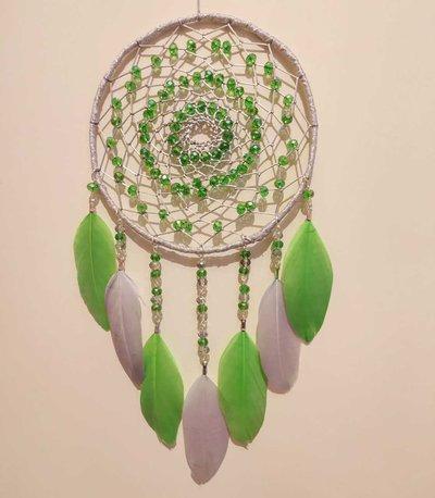 Acchiappasogni intreccio semplice argento e verde
