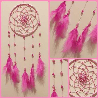 Acchiappasogni intreccio semplice rosa/fucsia