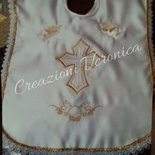 Vestina Battesimo con ricamo oro