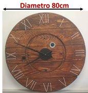 Orologio da parete stile industrial in legno diam. 80cm riciclo bobine cavi industriali. Spedizione Gratuita!