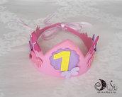 Corona compleanno per bimba rosa con farfalle numero personalizzato regolabile