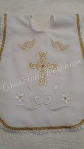 Vestina Battesimo con ricamo oro e bianco