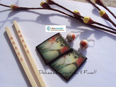 Orecchini Japan - geisha in fimo e cernit - perle di ceramica con fiori dipinti