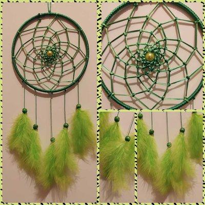 Acchiappasogni Intreccio semplice verde chiaro / verde scuro