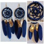 Orecchini acchiappasogni blu con pendagli