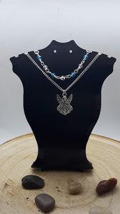 Collana a Doppia Catena, Ciondolo di un Angelo e Perline Sfaccettate in Vetro
