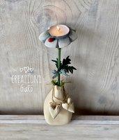 Porta tea light in legno massello