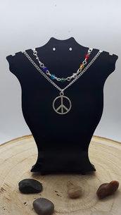 Collana a Doppia Catena con il simbolo della Pace, perline sfaccettate in vetro
