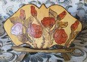 Quadro con le rose rosse pirografate