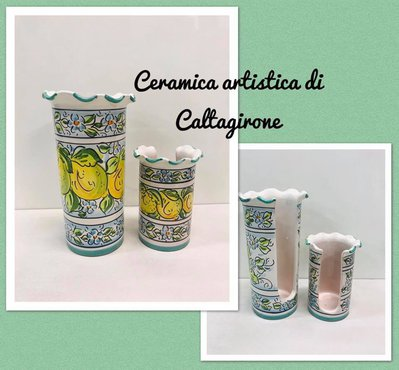 PORTABICCHIERI ACQUA E CAFFE IN CERAMICA DI CALTAGIRONE
