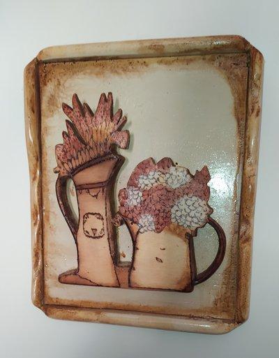 Quadro in legno con vasi di fiori