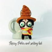 Harry Potter e cappello parlante amigurumi bambola portachiavi uncinetto