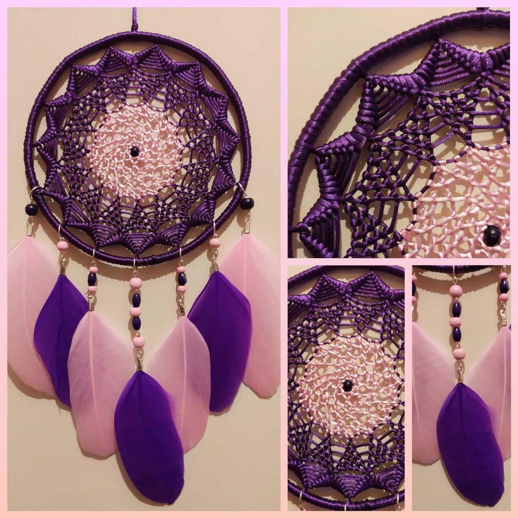 Acchiappasogni mandala viola e rosa