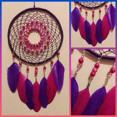 Acchiappasogni a intreccio semplice viola e fucsia con perline