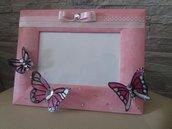 Portafoto rosa con farfalle
