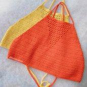 Top uncinetto in cotone morbido colore arancio