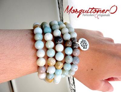 Bracciale donna multigiro 5 giri ciondolo FIORE DI LOTO con 108 perle in pietra Amazonite, braccialetto Mala, Yoga Regalo