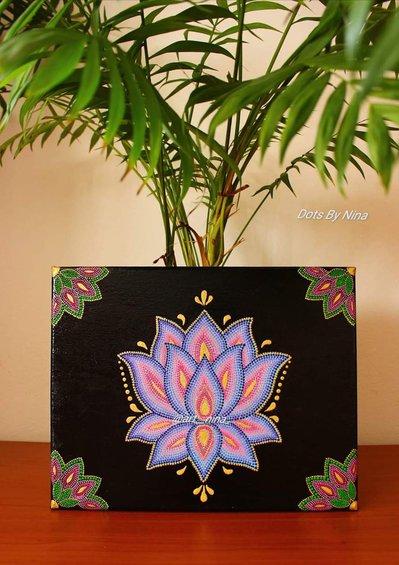 Quadro Lotus Tecnica Puntinismo con colori acrilici
