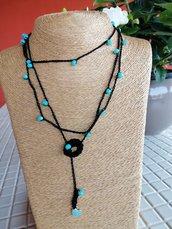 Collana rosario nera con perline azzurro Tiffany
