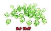 10 Rondelle di cristallo sfaccettato - Verde prato (8x6mm)