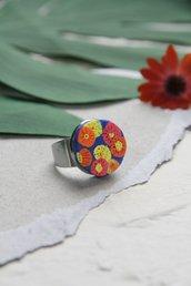 anello in fimo a fiori multicolore