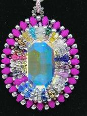 Cabochon Swarovski Crystal AB 30x22mm incastonato a mano