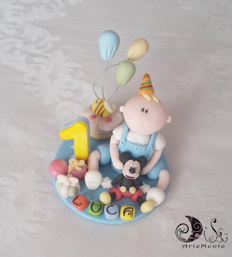 Cake topper primo compleanno bimbo con topolino personalizzabile