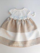 Abito neonata/bambina - cotone bianco e puro lino bianco e ecru - Battesimo