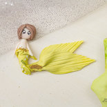 Collana in fimo ciondolo sirena sirenetta necklace polymer clay charm handmade miniatura bambola doll, mermaid miniature conchiglia, Princess Mermaid,