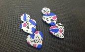 Orecchini blu fucsia anni 80 vintage cuore colorato 4