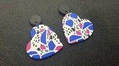 Orecchini blu fucsia anni 80 vintage cuore colorato 2