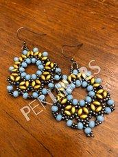 Orecchini perline superduo e cipollotti turchese e oro (10)