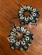 Orecchini perline superduo e cipollotti Verde scuro e argento (11)