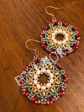 Orecchini di perline, superduo e cipollotti Rosso Turchese Oro (20)