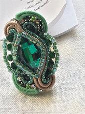 "Anello verde smeraldo a soutache ""Beltane"""