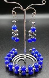 set blu elettrico bracciale+orecchini