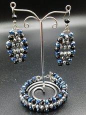 set cristalli blu/grigio/nero