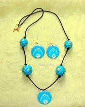 Set orecchini e collana dipinti a mano