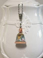 Collana con ditale di ceramica dipinta, collana per sarta, ceramica di Deruta